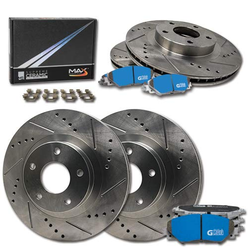 (Max Brakes Front+Rear Premium Slot Drill Rotor w/M1 Brake Pad Supreme Brake Kit KM107633 | Fits: 2009 2010 Mini Cooper w/294mm Front and 259mm Rear Rotor; Excl. Cross Drilled and Slotted Front Rotor)