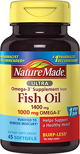 Nature Made Ultra Omega-3 Burpless Fish Oil 1400 mg Softgels w. Omega 3 1000 mg 45 Ct