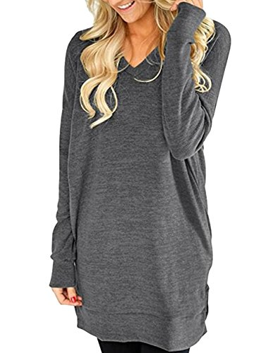 Buauty Ladies Casual Pocket Sweatshirt Long Sleeve Dress Shirts Tunic Tops Plus Size