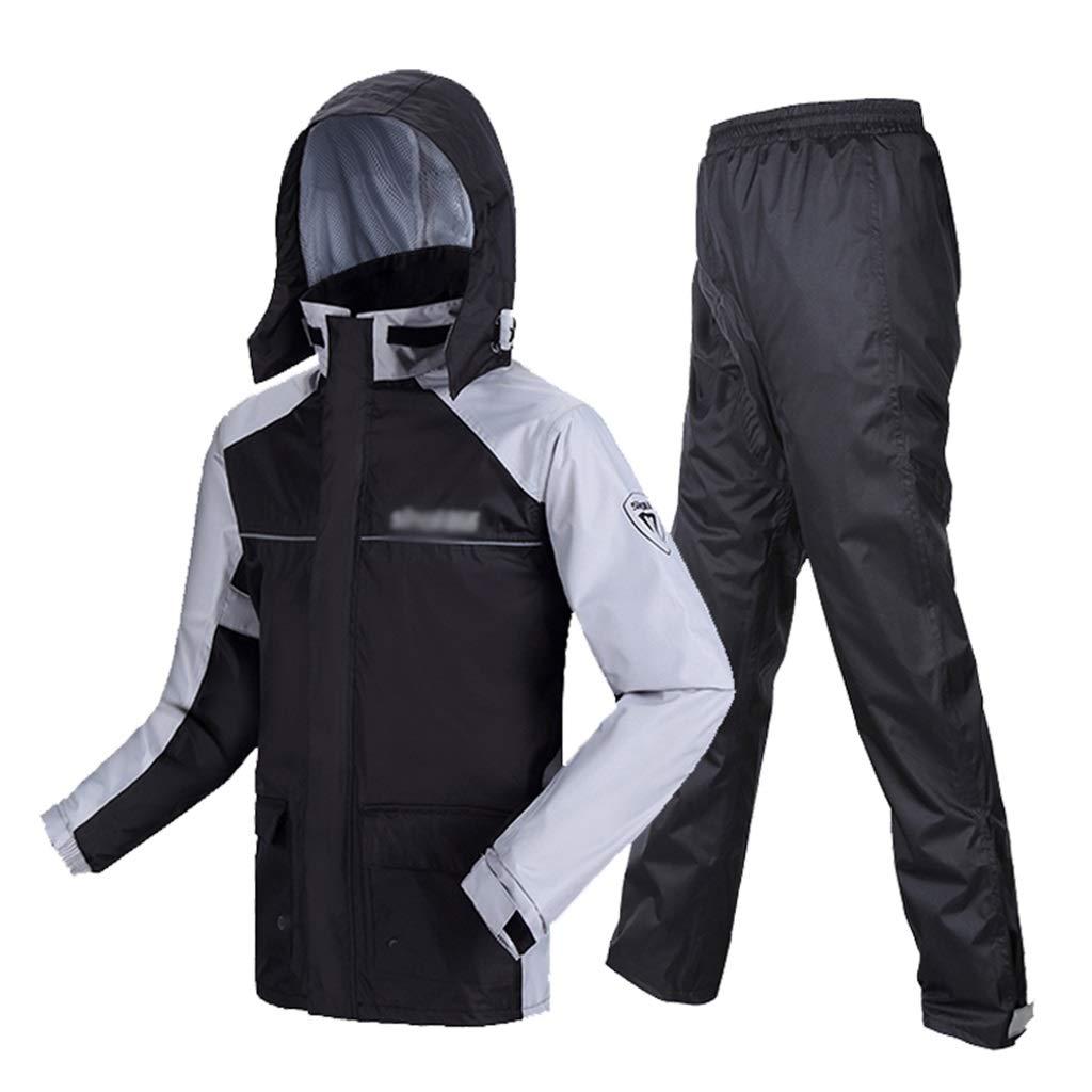 防水レインコートセット、大人の分割乗馬反射防止防風雨ポンチョ屋外の厚い防風通気性レインコートレインパンツ YUYI (Color : Gray, Size : XXL) B07SX3L4WX Gray XX-Large