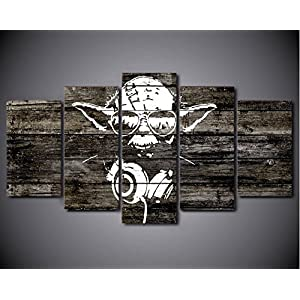 5PCS Framed Starwars Abstract Yoda Canvas Prints – 5 Piece Yoda Artwork Star Wars Rapper's Wall Art for Office and Home Wall Decor