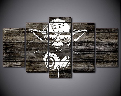 5PCS Framed Starwars Abstract Yoda Canvas Prints - 5 Piece Canvas Yoda Artwork Canvas Star Wars Rapper's Paintings on Canvas Wall Art for Office and Home Wall Decor