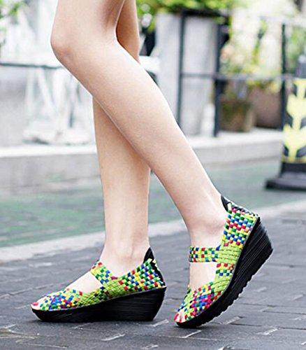 GFONE Women's Woven Peep Toe Slip On Wedge Platform Walking Shoes Fitness Sneaker Working Casual Sandal Mary Jane Shoes Size 2.5-8 Color Green hl7EM