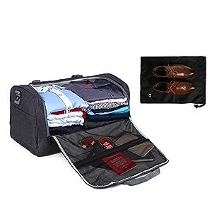 BAGSMART Travel Duffel Bag Large Weekender Bag Carry-on Luggage with Shoe Bag 40L, Black