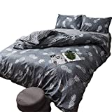 YEVEM Grey Pineapple Children Duvet Cover Set Full Queen Lightweight Reversible Boys Girls 3 Pieces Bedding Set with 2 Pillowcases Best Bedding Gifts for Kids Adults (Full/Queen, Style 1)