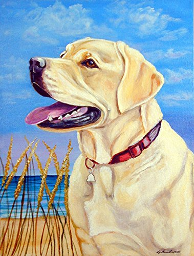 Caroline's Treasures 7158CHF Yellow Labrador at The Beach Flag Canvas, Large, Multicolor For Sale