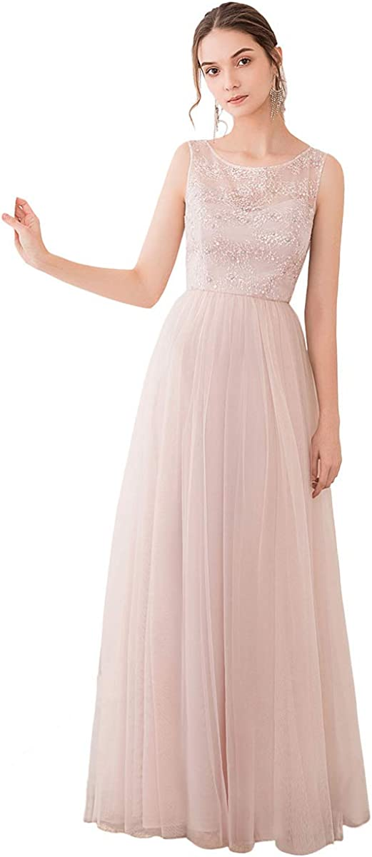 dPois Womens Sleeveless Embroidered Floral Lace Chiffon Bridesmaid Elegant Swing Maxi Dress
