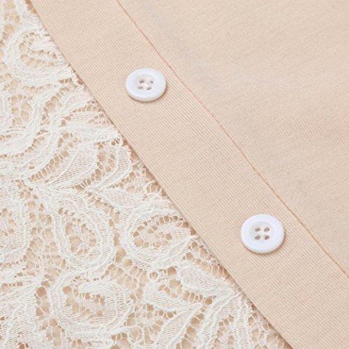 AIMEE7 Femmes Stitching O Cou Derrière La Dentelle Split Manches Longues Blouse T-Shirt