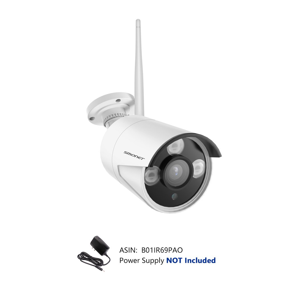 SMONET H.264 1080P Outdoor Indoor Security Camera with 4mm Lens High Resolution IR Cut 65Ft Night Vision,3pcs Array LED Light and Bracket, No Power Adapter by SMONET