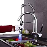 CGH-tap Contemporary Brushed Nickel Single Handle Swivel LED Pull Out Kitchen Sink Faucet Two Spout Pull Down Kitchen Faucet with Sprayer LED Design Kitchen Bar Mixer Taps