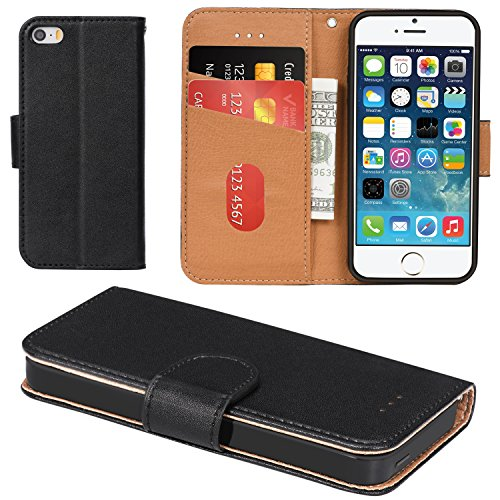 Aicoco iPhone 5 Case, iPhone 5S Case, Flip Cover Leather, Phone Wallet Case for Apple iPhone 5 / 5S / SE - Black