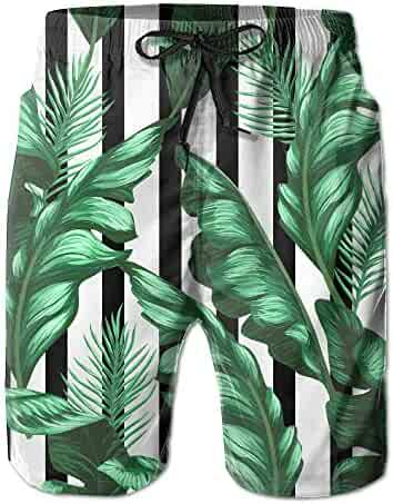 a3523f0cac SNM HILL Mens Quick Dry Beach Shorts Tropical Banana Leaves Floral Boardshorts  Swim Surf Trunks