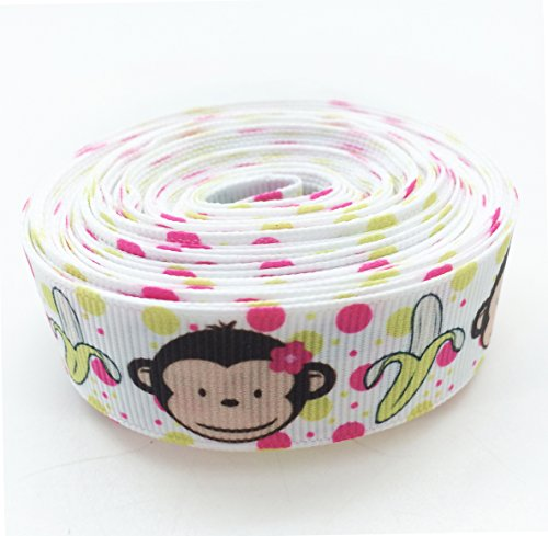Banana Grosgrain Ribbon (PEPPERLONELY 10 Yards Monkey & Banana Print Grosgrain Ribbon, 22mm (7/8 Inch))