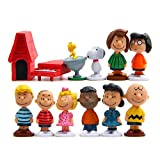 Peanuts Movie Classic Characters Toy Figure, Cake Toppers Set of 12 with Snoopy, Woodstock, Dog House, Linus, Charlie and More Party Decorations