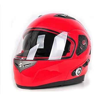 Casco de Bluetooth Modular Cascos de Seguridad para Motocicletas Dot Moto abatible Viseras Dobles Casco de