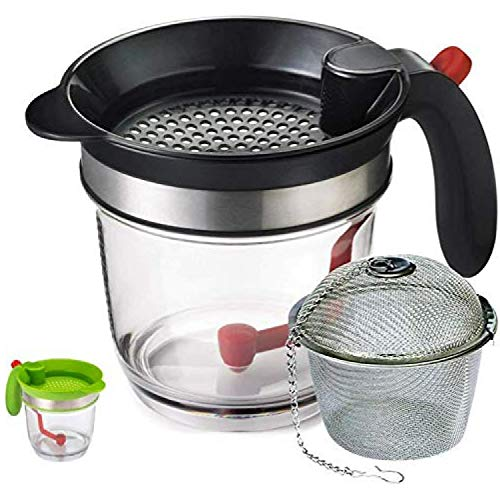 JGS 4 Cup Gravy Fat Separator - Oil Separator Measuring Cup - Easy Release Grease Strainer, Dishwasher Safe