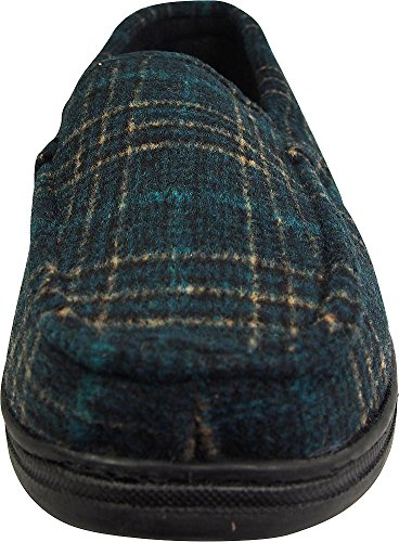 Pantofole Perry Ellis Mens Doppie Elasticizzate Plaid Verde