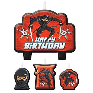 Amazon.com: Negro Ninja Fiesta de cumpleaños vela set Pastel ...