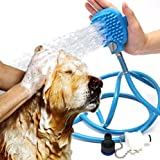 Paddy B Pet Shower Sprayer and Bathing Tool (8 foot hose) With Adjustable Handheld Sprayer and Soft Massage Scrubber | Perfect for Dog and Cat Grooming | Bonus Free Adapters for Indoor Outdoor Use