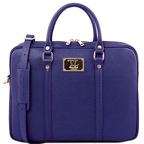 Tuscany Leather Prato - Esclusiva cartella porta notebook in pelle Saffiano - TL141626 (Talpa scuro) Blu Scuro