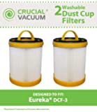 2 Eureka DCF-3 HEPA Filters, Long-Life WASHABLE, REUSABLE, Compare With Eureka Part# 61825, 62136, 62136A, DCF3, Designed & Engineered by Crucial Vacuum
