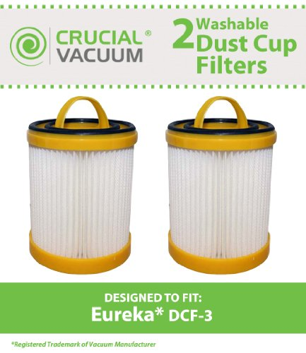 2 Variety DCF-3 Filters for all Eureka 5740-5799 and 5840-5898 model vacuum cleaners; Compare to Eureka Part Nos. 61825, 62136, 62136A; Designed & Engineered by Crucial Vacuum