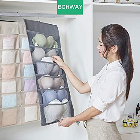 Bchway Closet Hanging Organizer with Pockets Dual Sided 20-Pocket Wall Shelf Wardrobe Organizers Storage Bags Space Saver Bag Oxford Cloth with Hanger for Bra Underwear Tshirts Briefs Shoes Socks BchwayDirect