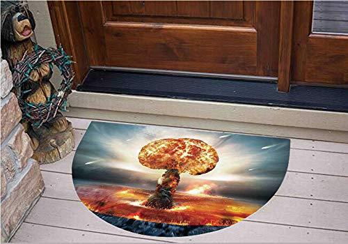 (3D Semicircle Floor Stickers Personalized Floor Wall Sticker Decals,Mushroom Cloud Fireball Inferno Nuclear Reaction,Kitchen Bathroom Tile Sticker Living Room Bedroom Kids Room Decor Art Mural)