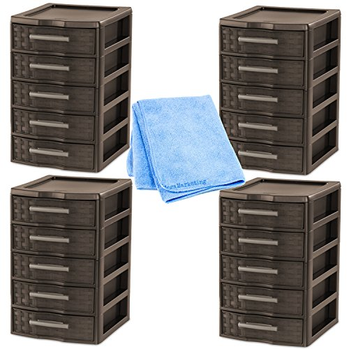 Review NEW! Sterilite Small 5-Drawer Weave Unit, 4-PACK in Espresso (with By STÉRILITE by .STÉRILITE .