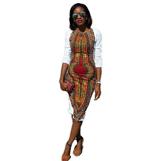 865d878a38d7 African Print Dresses for Women Long Sleeve Knee Length Dress Casual  Traditional White