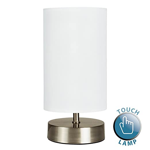 Modern chrome touch dimmer bedside table lamp with white cylinder modern chrome touch dimmer bedside table lamp with white cylinder light shade mozeypictures Choice Image