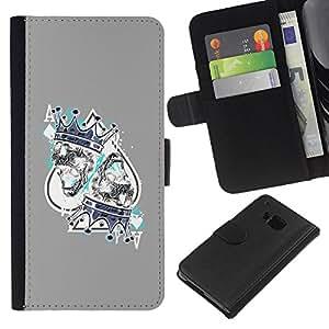Stuss Case / Funda Carcasa PU de Cuero - Juego Rey Corazones Tarjetas Poker - HTC One M9