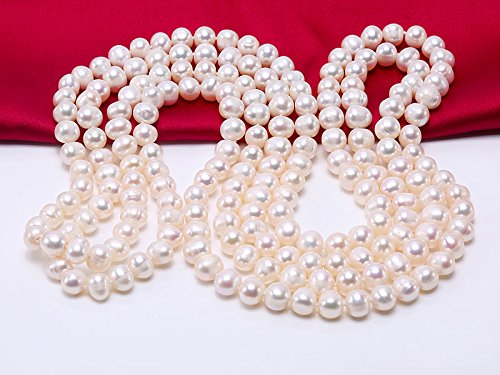 JYX Round Natural White 8-9mm Freshwater Pearl Necklace Endless Long Sweater Necklace 64'' by JYX Pearl (Image #5)