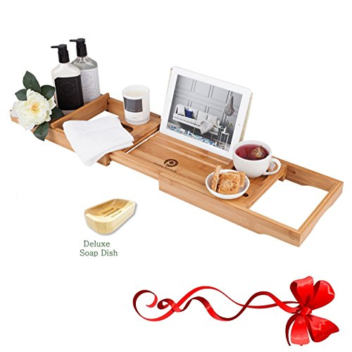 ✔ PREMIUM Bathtub Caddy with 12-in-1 Features, Beautiful Box, Non-slip Grip, FREE Soap Dish| Wine Glass Holder, Book Reading Rack| Wooden Shelf, iPad Stand| Spa Bath tub Tray by PRISTINE BAMBOO