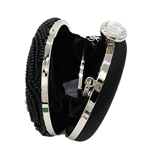 femmes pour main de paquet Black perlé à à embrayage la haut sac soirée la sac gamme Shimmer Dinner noce de main sac Sacs C6qgH