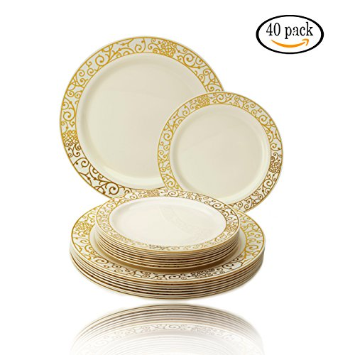 PARTY DISPOSABLE 40 PC DINNERWARE SET | 20 Dinner Plates | 20 Salad/Dessert plates | Heavy Duty Plastic Dishes | Elegant Fine China Look | Upscale Wedding and Dining (Venetian Collection– Ivory/Gold)
