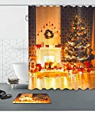 Merry Christmas Season Eve New Year Decorative Decor Gift Shower Curtain Polyester Fabric 3D 72x72'' Mildew Resistant Waterproof Warm Fireplace Tree Lamps Present Box Bathroom Bath Liner Set Bath Mat