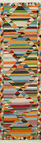 -4MTI2380 Caravan Collection, 100% Wool Hand Woven Transitional Area Rug, 2'3