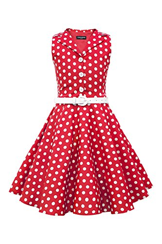 BlackButterfly Kids 'Holly' Vintage Polka Dot 50's Girls Dress (Red, 7-8 YRS)