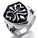 Tanboo Shield of the Templar Stainless Steel Mens Ring,Black Silver 10
