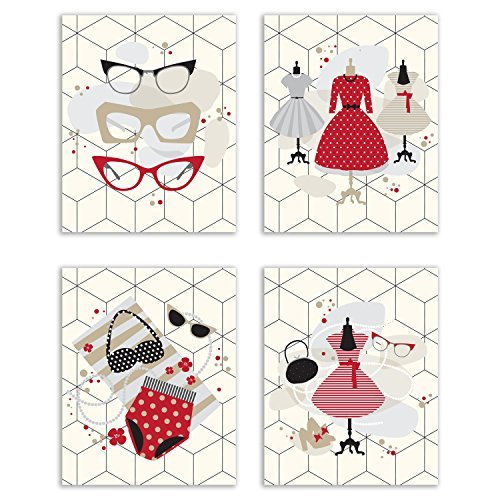 (Retro Fashion Prints - Set of Four Vintage Campy Wall Art Decor Photos 8x10 Hipster Glasses - Pin-up Dresses and Bathing Suit)