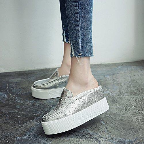 pendenza Baotou i pantofole spessi Estate Bianco con sandali con Qingchunhuangtang calzature cool alti tacchi argento scarpe XHwnz