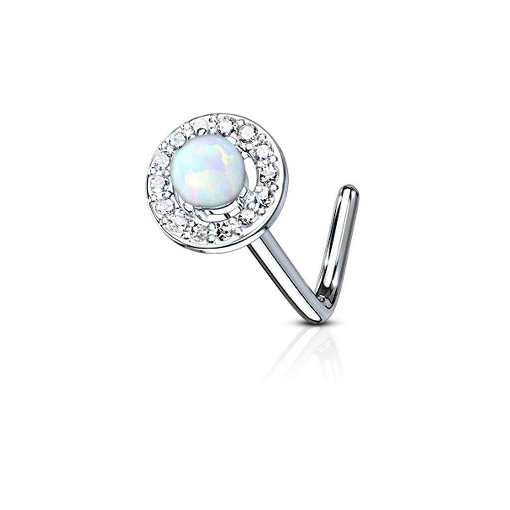 Fifth Cue 20G Dome Opal Center CZ Paved Circle 316L Surgical Steel L Bend Nose Stud Ring - Choose Color (Opal White)