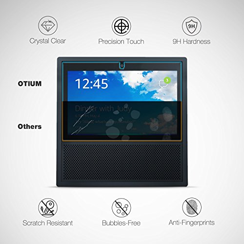 Echo Show Screen Protector Tempered Glass, Otium [2-Pack] Tempered Glass Screen Protector for Echo Show 2017 - Easy Install Tabs/ Anti-Scratch / Ultra Clear / Bubble Free