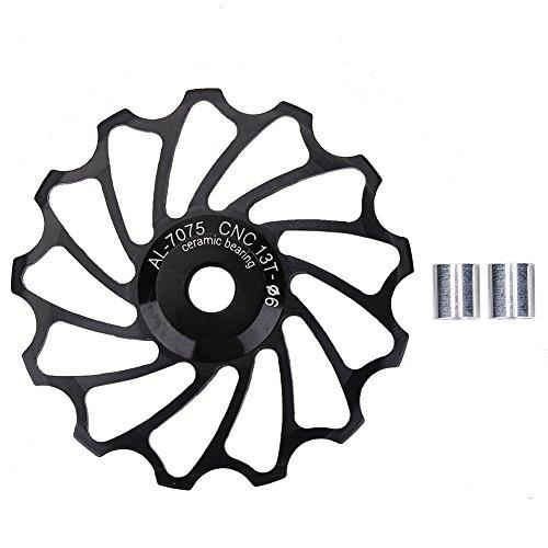 13T Road Bike Bicycle Jockey Wheel Ceramic Bearing Rear Derailleur Guide Pulley(Black)