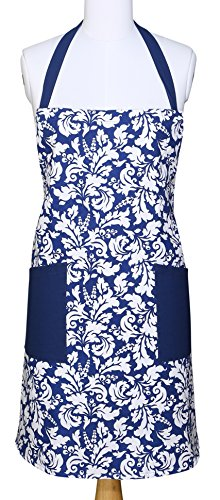 Yourtablecloth Kitchen Apron for Women and Men 100% Cotton, Adjustable Size, 2 Side Pockets-Preferred Choice for Chef Aprons & Ideal for Home Chefs too-be it Baking, Cooking, Barbecuing-Nautical Blue