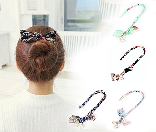 4PCS Sc0nni Magic Fashion Pearl Hair Styling Clip French Twist Hairstyle Donut Clip French Twist Magic DIY Tool Hair Bun Maker Hairstyle Must-haves Tool. (4 Color )
