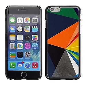 FECELL CITY // Duro Aluminio Pegatina PC Caso decorativo Funda Carcasa de Protección para Apple Iphone 6 // Blue Orange Black Polygon Pattern
