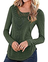KOINECO Women's Long Sleeve Crochet Detail Blouse Shirts