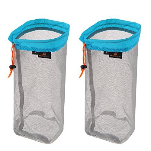 Travel Ultralight Mesh Drawstring Storage Bag Blue - 1
